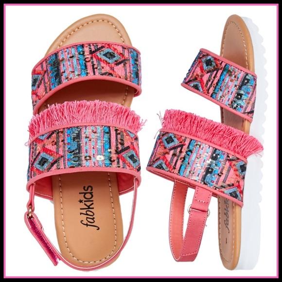 fabkids Other - New! Fab kids Fringe track sole sandals! Sz 4 & 5